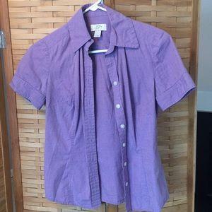 Lilac Ann Taylor Loft short sleeve button down
